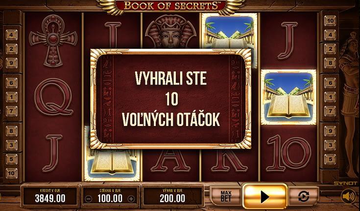 Funkcie automatov – Voľné otočenia. Výherný automat Book of Secrets od Synot Games.
