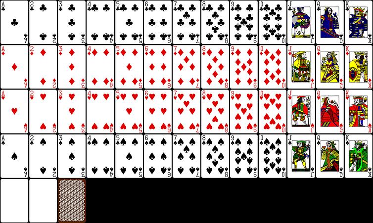 Blackjack, balík hracích kariet.