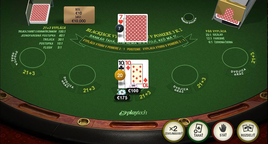 Vedľajšie stávky. Červená / čierna v blackjacku od Playtechu.