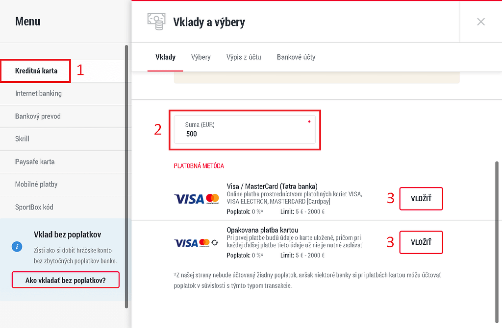 2. krok, ako dotovať herné konto v Doxxbete platobnou kartou.