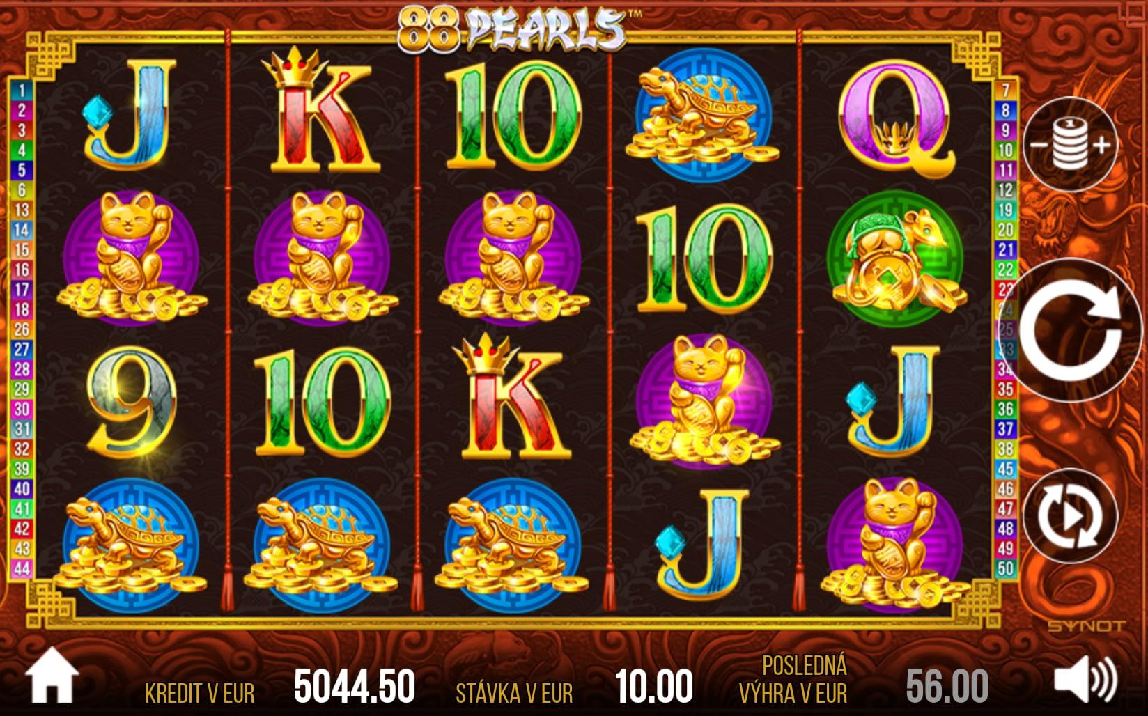 88 Pearls od SYNOT Games, ktorý je možné hrať vo Fortuna Casino a Vegas.
