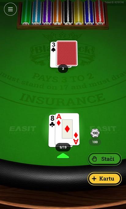 Blackjack Mania od EASIT v online kasíne od Tipsportu.