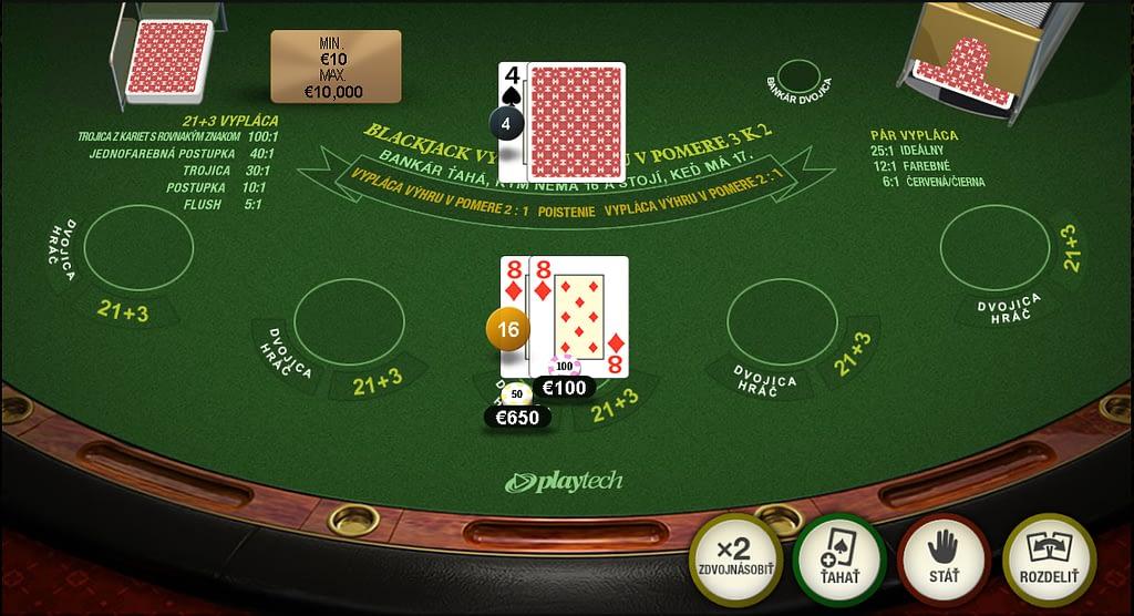 Playtech blackjack ideálny pár. Vedľajšie stávky.