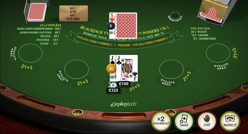 Vedlajšie stávky v prémiovom blackjacku od Playtechu.