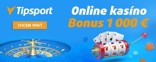 Vstupný casino bonus až do výšky 1000 EUR v Tipsporte.