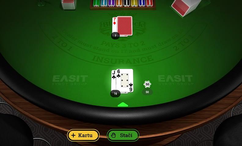 Ukážka z hry Blackjack Mania od EASIT. Ako hrať blackjack.
