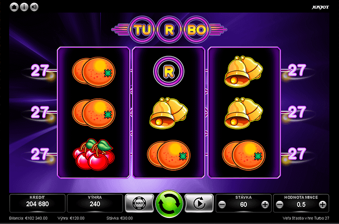 Výherný automat Turbo 27. Automaty od špičkového dodávateľa Kajot.